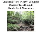 location of first nearly complete dinosaur fossil found haddonfield new jersey