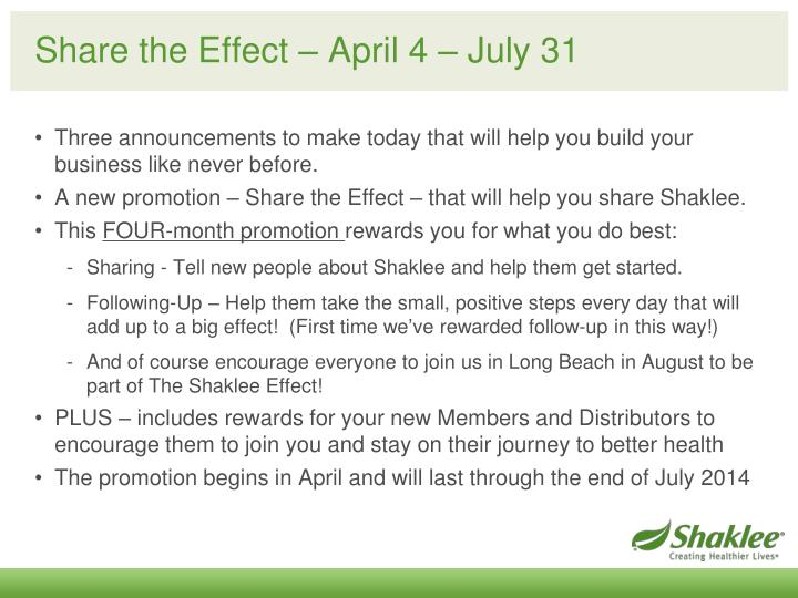 Share the Effect – April 4 – July 31