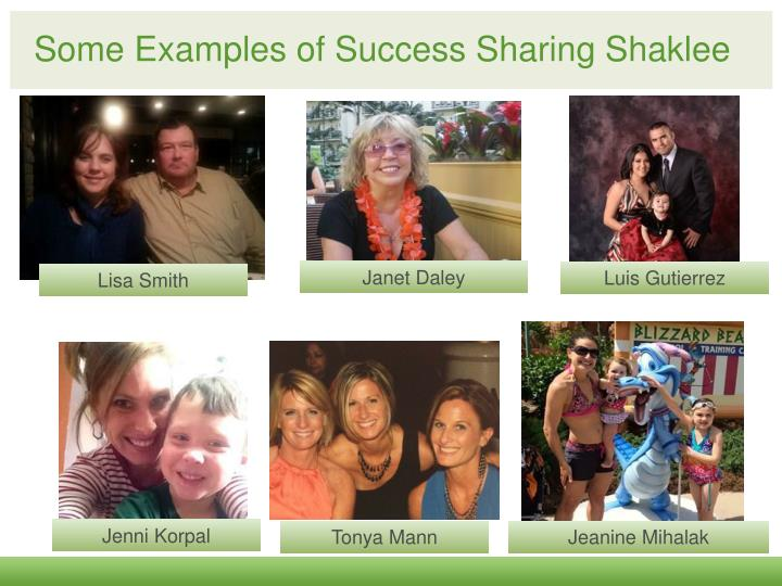 Some examples of success sharing shaklee
