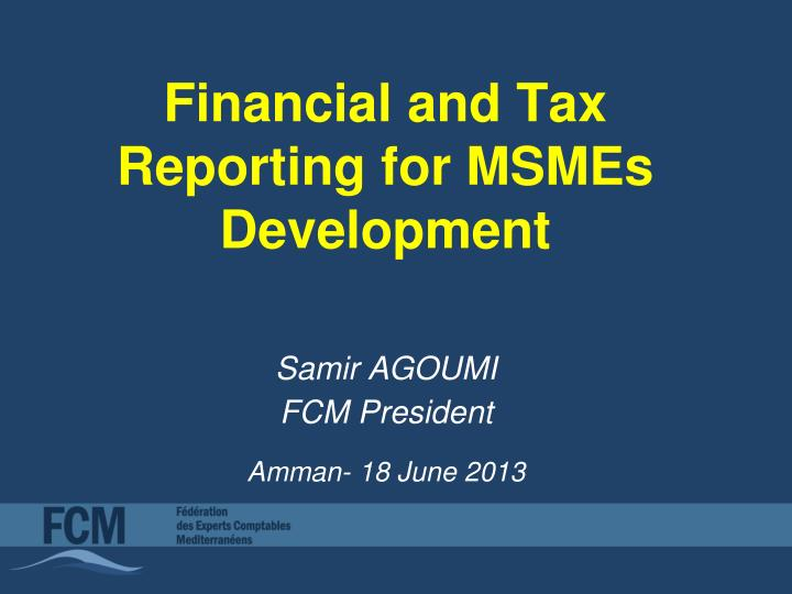financial and tax reporting for msmes development n.