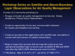workshop series on satellite and above boundary layer observations for air quality management