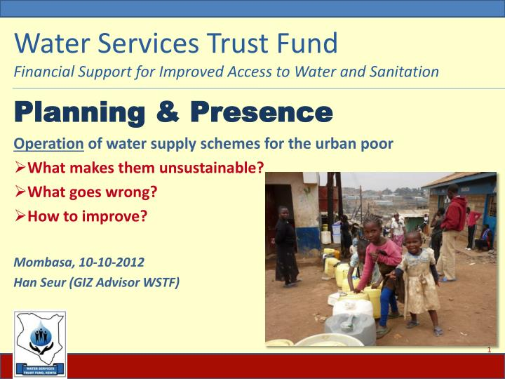water services trust fund financial support for improved access to water and sanitation n.