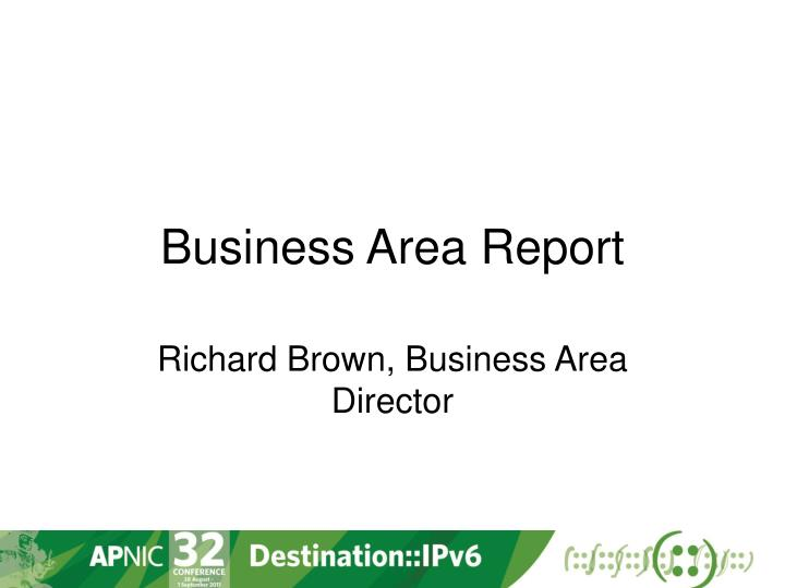 business area report n.