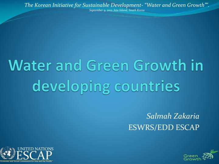 water and green growth in developing countries n.