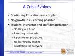 a crisis evolves