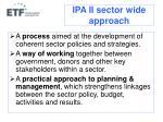 ipa ii sector wide approach