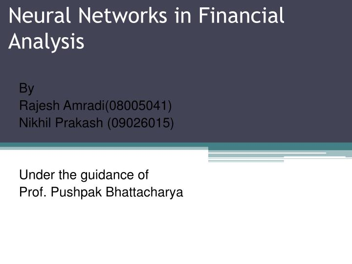 neural networks in financial analysis n.
