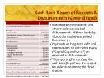 cash basis report of receipts disbursements general fund