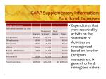 gaap supplementary information functional expenses