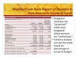 modified cash basis report of receipts disbursements general fund