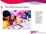 the pmo service menu