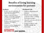 benefits of living learning environments for partners