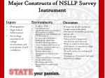 major constructs of nsllp survey instrument
