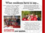 what residents have to say