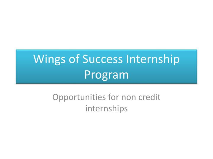 wings of success internship program n.