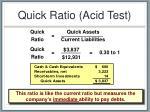 quick ratio acid test