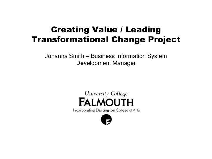 creating value leading transformational change project n.