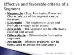effective and favorable criteria of a segment