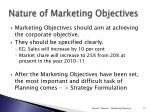 nature of marketing objectives