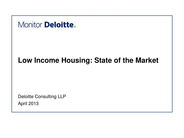 low income housing state of the market n.