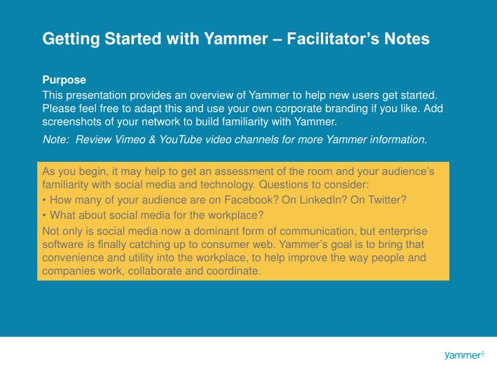 getting started with yammer facilitator s notes n.
