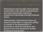 globalisation business ethics and competitive advantage