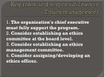 key roles and responsibilities in ethics management