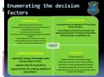 enumerating the decision factors