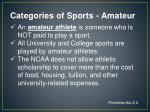 categories of sports amateur