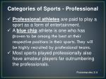 categories of sports professional