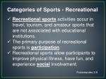 categories of sports recreational