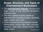 scope structure and types of entertainment businesses