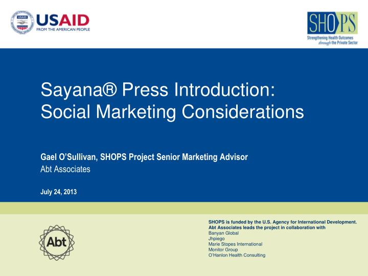 sayana press introduction social marketing considerations n.