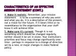 characteristics of an effective mission statement cont