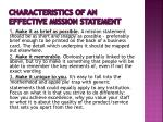 characteristics of an effective mission statement