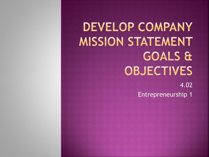 develop company mission statement goals objectives n.
