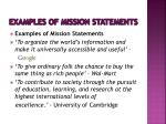 examples of mission statements