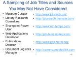 a sampling of job titles and sources you may not have considered