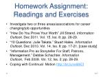 homework assignment readings and exercises