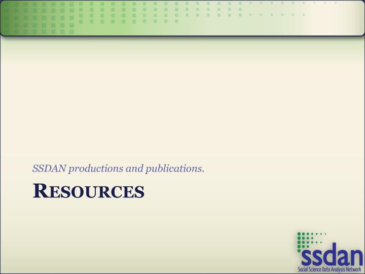 SSDAN productions and publications.