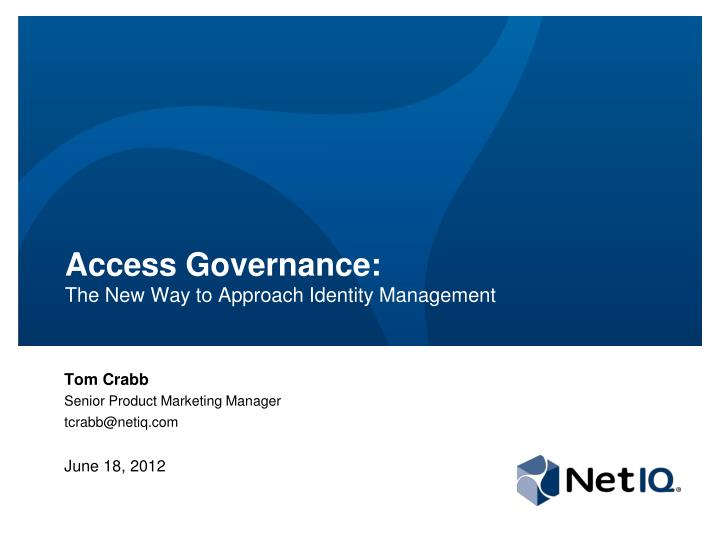 access governance the new way to approach identity management n.