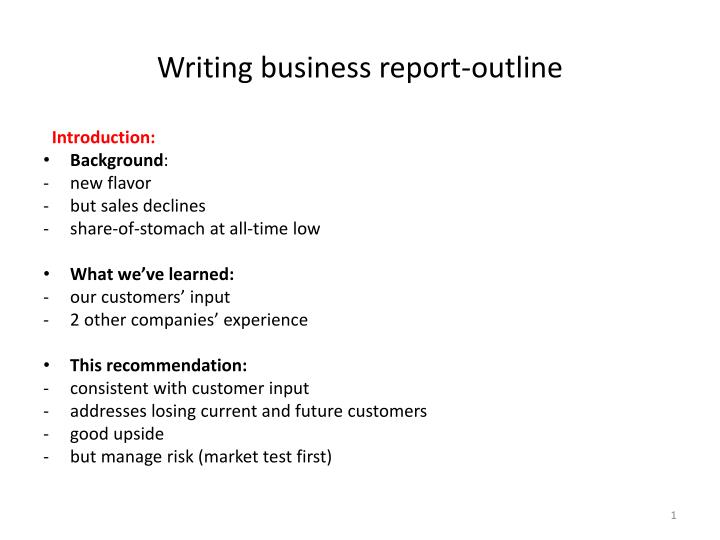 writing business report outline n.