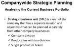 companywide strategic planning analyzing the current business portfolio