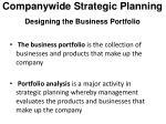 companywide strategic planning designing the business portfolio