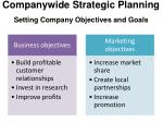 companywide strategic planning setting company objectives and goals