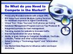so what do you need to compete in the market