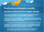 positioning strategies usually revolve around three major areas
