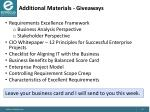 additional materials giveaways