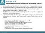principle 10 implement requirements based project management practices