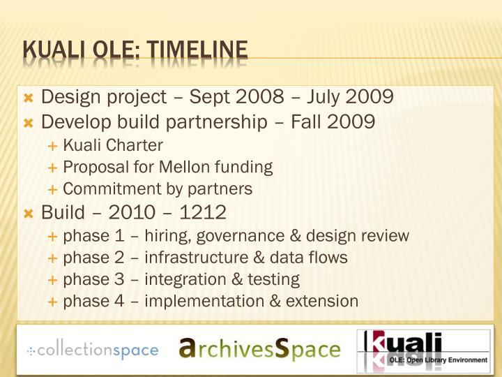 Design project – Sept 2008 – July 2009